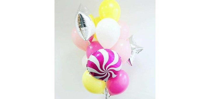 Скидка 35% на букеты на выбор из фольгированных шаров: звезд, кругов, сердец