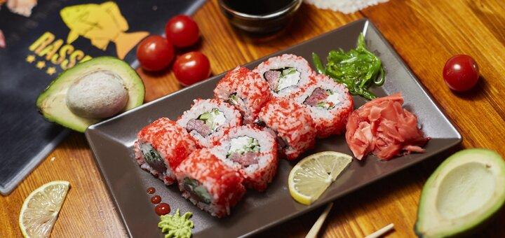 Скидка 50% на все суши, роллы и сеты в суши-шопе «RASSEL» на Калиновой